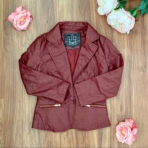 NWOT Rust Red Faux Leather Jacket